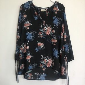 Blooming Floral Long Sleeve Flowy Blouse Shirt